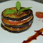 Berenjenas con foie y salsa de oporto