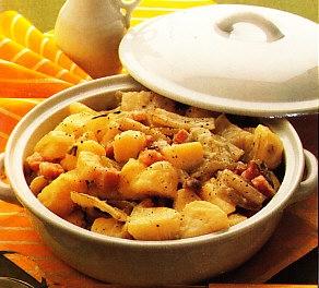 Acelgas con patatas rehogadas con bacon