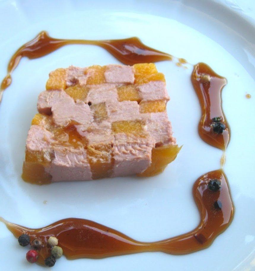 Ajedrez de foie-gras y mango
