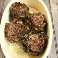Alcachofas al horno con tocineta
