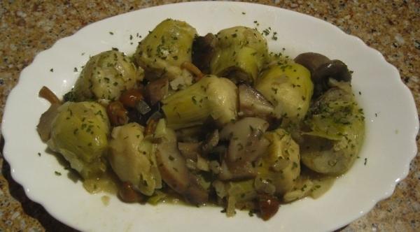 Alcachofas con hongos