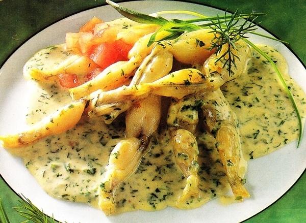 Ancas de rana con salsa
