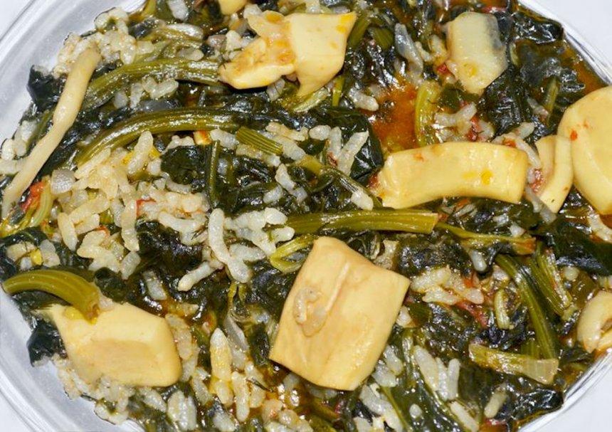 Arroz con sepia y verduras
