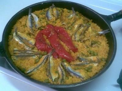 Arroz de sardinas y alcachofas