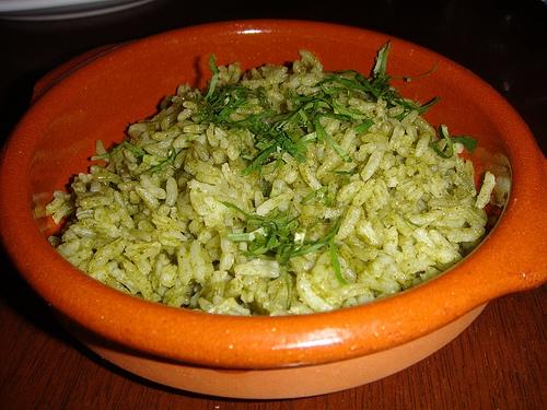 Arroz en salsa verde