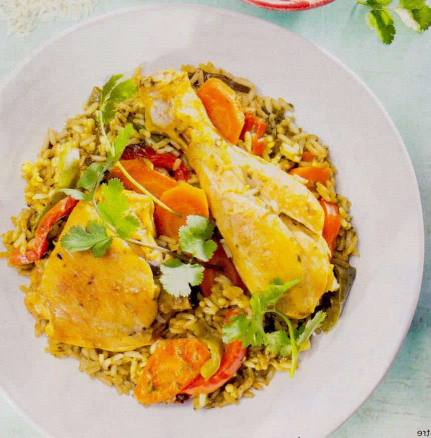 Arroz verde peruano con pollo