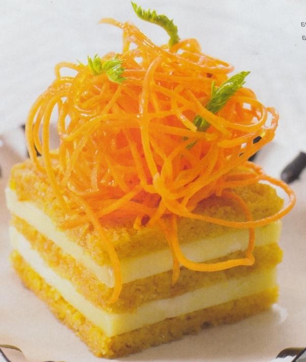 Biscuit de zanahoria, ratafía y queso nevado