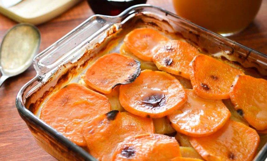 Boniato y manzana al horno a la naranja