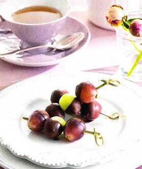 Brochetas de uva