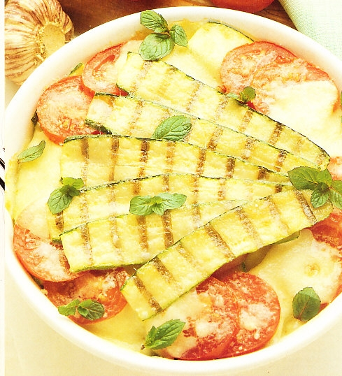 Calabacines con queso y menta