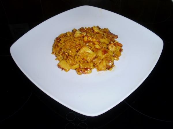 Caldero de arroz con pota