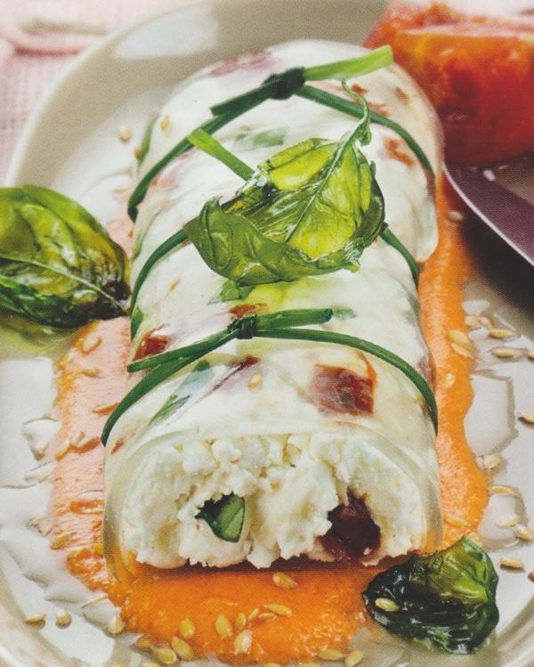 Canelones de albahaca, queso de cabra y tomate encalado