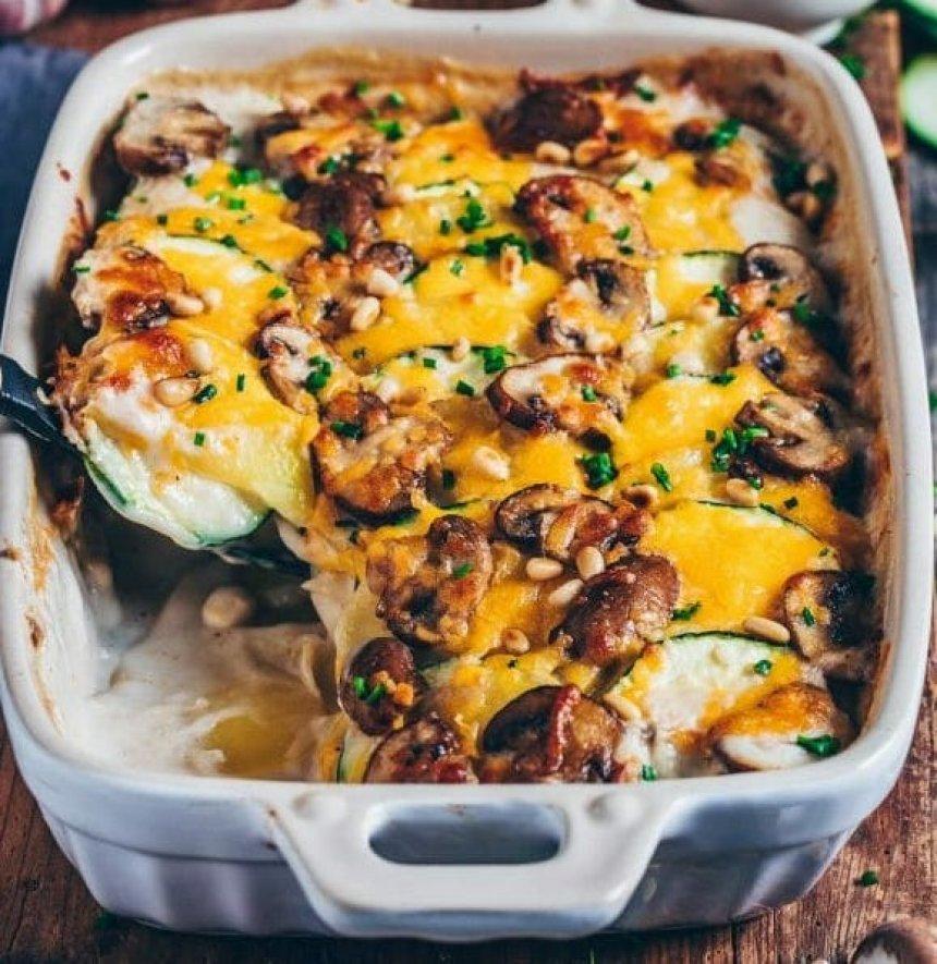 Cazuela de setas y verduras con crema de queso