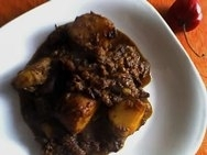 Cochayuyo frito con carne y tomate