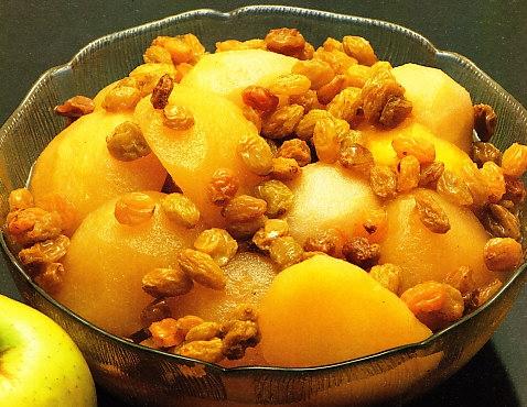 Compota de manzanas, peras y pasas