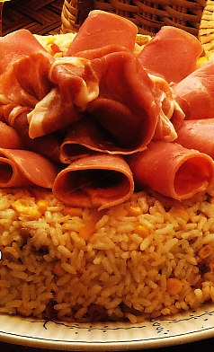 Corona de arroz con jamón