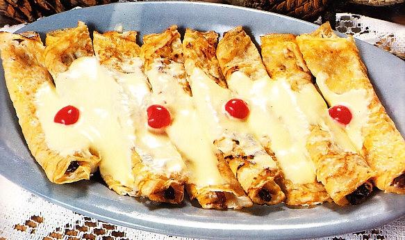 Crêpes de queso fresco y pasas
