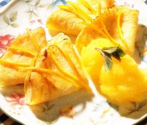 Crêpes con sorbete de naranja