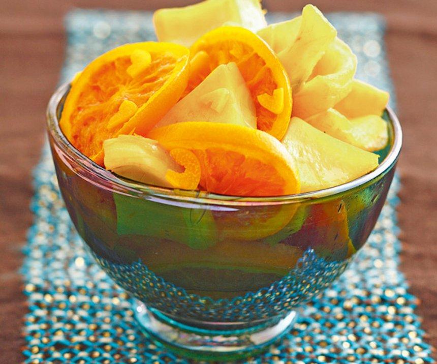 Ensalada de alcachofas, naranjas y limones