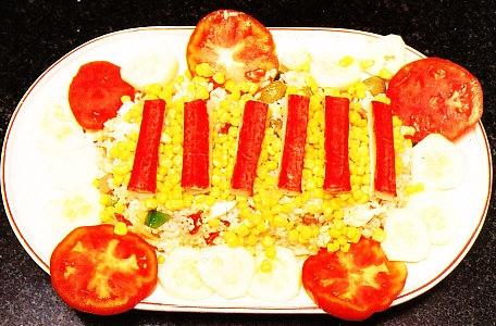 Ensalada de arroz con tronquitos de cangrejo