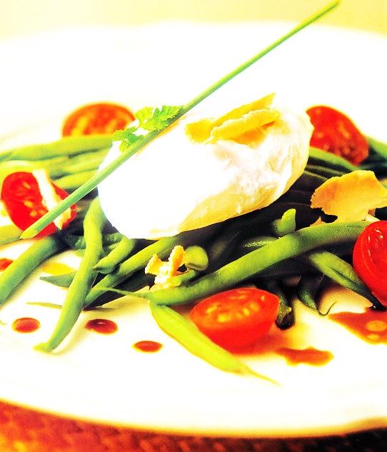 Ensalada de judia verde y huevos de pata