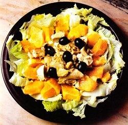 Ensalada de pollo con naranja