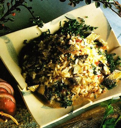 Ensalada romana de arroz y arenques