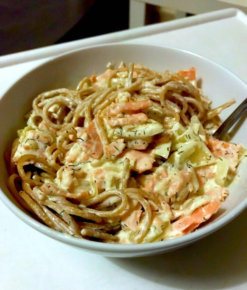 Espaguetis al salmón