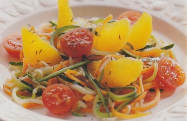 Espaguetis de zanahorias y calabacines