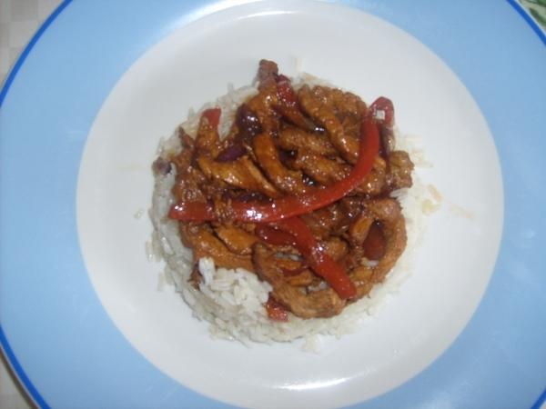 Fajita de cerdo con arroz