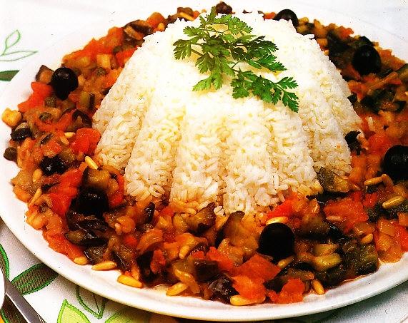Flan de arroz con berenjenas al agridulce