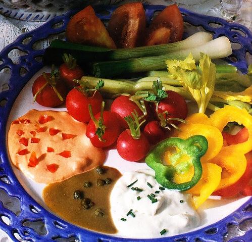Fondue de verduras y queso