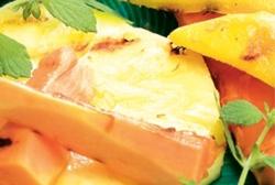 Frutas a la barbacoa al aroma de caramelo