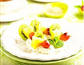 Frutas con requesón