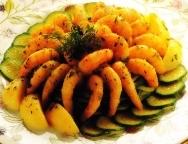 Gambas gratinadas con calabacines y patatas