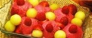 Helado con frutas