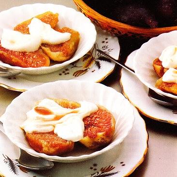 Higos con crema helada de limón