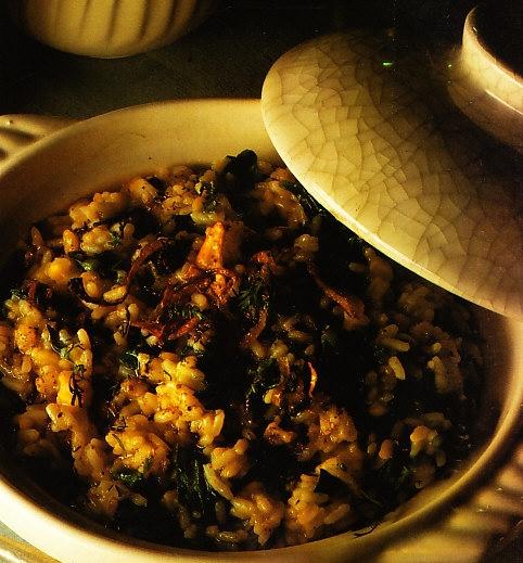 Khichri con lentejas y espinacas