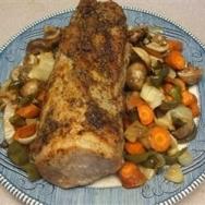 Lomo de cerdo asado con hortalizas