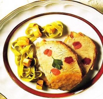 Lomo de cerdo con salsa de puerros