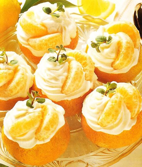 Mandarinas rellenas de helado de limón