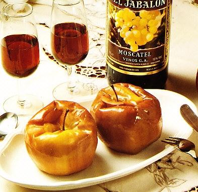 Manzanas al horno con moscatel