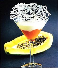 Mermelada de papaya con mousse de cava