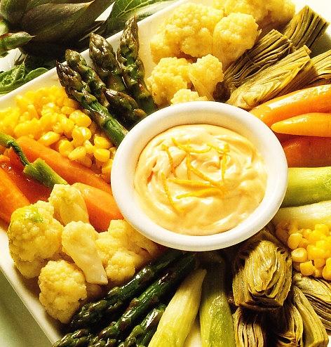 Mixto de verduras con mayonesa a la naranja