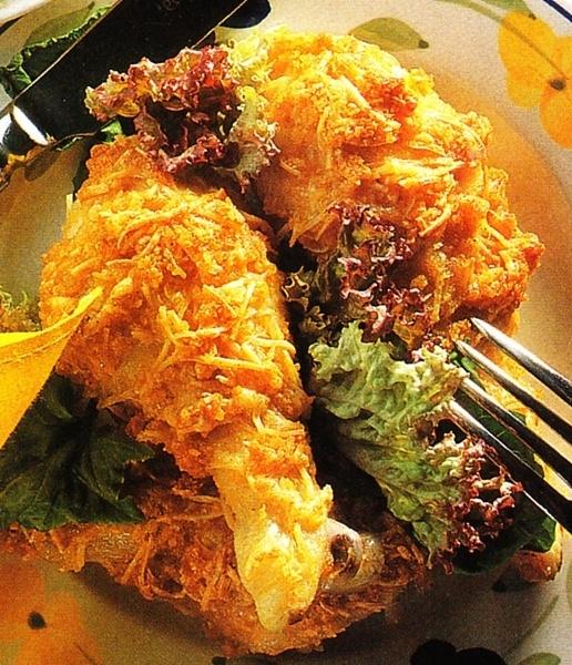 Muslos de pollo rebozados con patatas chips