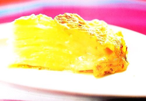 Pastel de patata y piel de queso