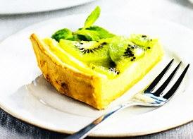 Tarta de queso y kiwi
