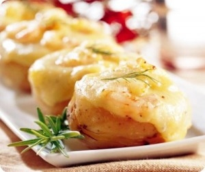 Patatas asadas rellenas de acelgas