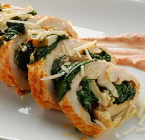 Pechugas de pollo rellenas de champiñones y espinacas