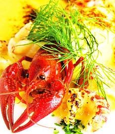 Pelota de merluza con cangrejos de río